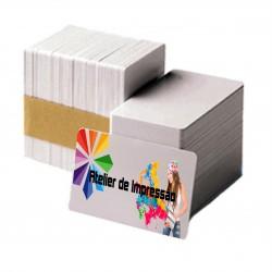 Cartões de visita em plástico branco, frente